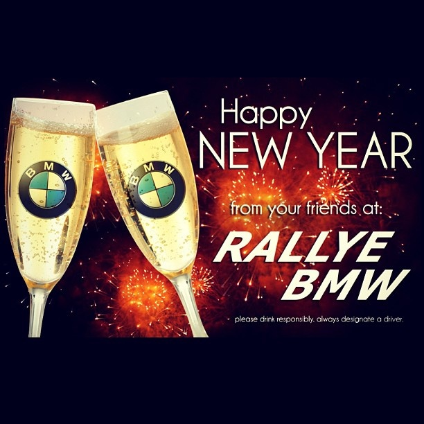 happy new year from us here at rallye bmw please drink responsibly and dont drink and drive rallyebmw bmw champagnetoast ny