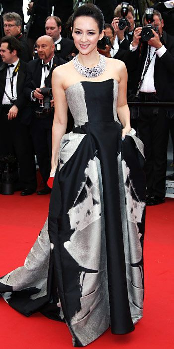 Zhang Ziyi in black and silver Carolina Herrera in Cannes 2013