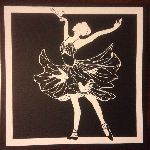 Original paper cut  dancing with birds.. 100% hand by DESIGNPAPER