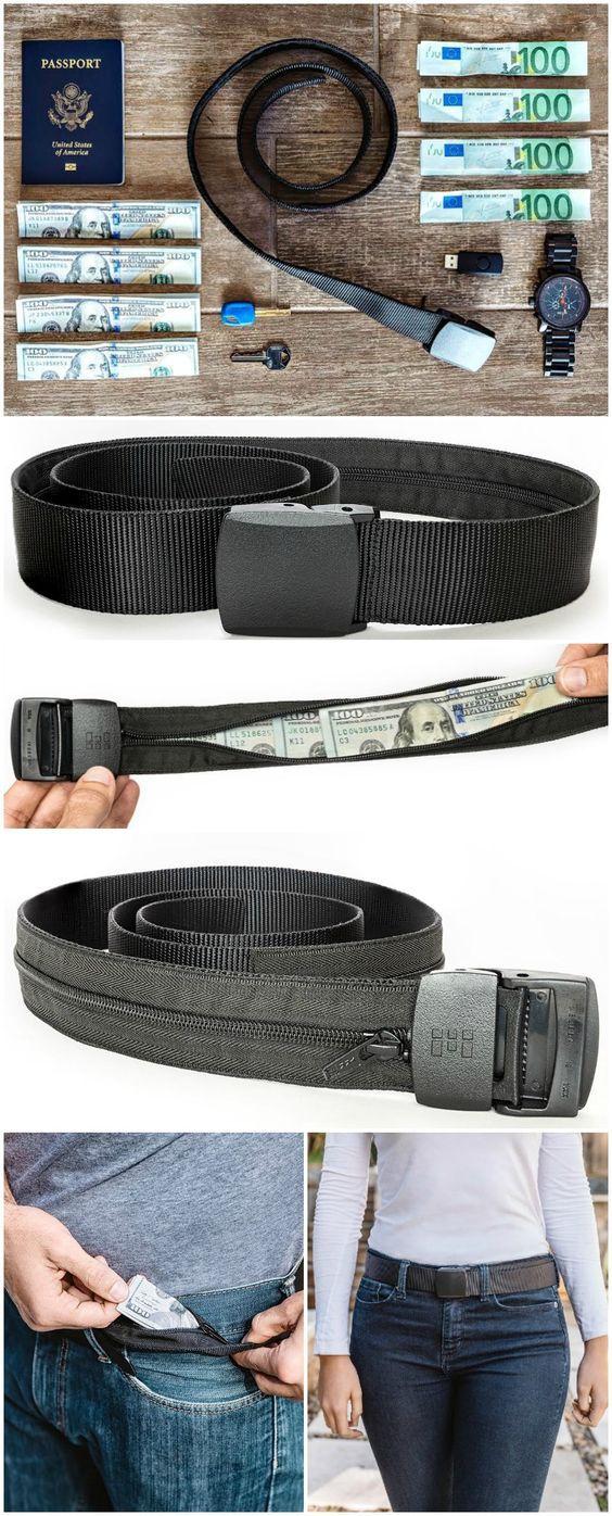 Zero Grid Travel Security Belt - Hidden Money Pouch - Non-Metal Buckle, Black