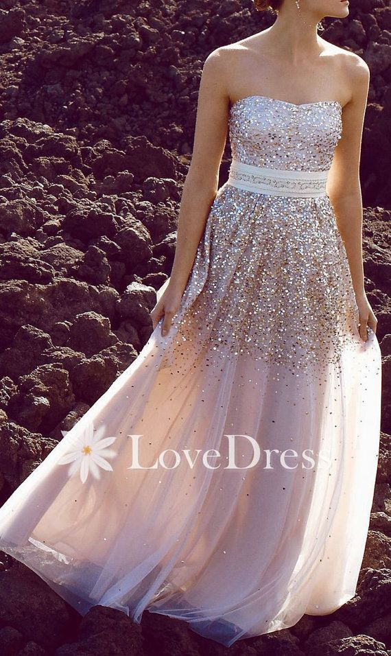 Custom Made Sequin Modest Strapless Long Prom Dress, evening dress, party dress, wedding dress, bridesmaid dress