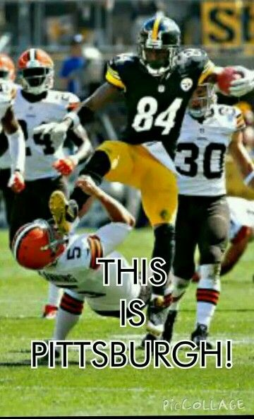 Pittsburgh Steelers Antonio Brown scraping some Dawg Poo off his shoe. Tony, when you're in the Dawg Pound you have to WATCH where you STEP.
