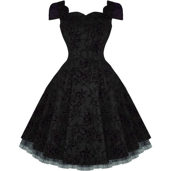 Hearts and Roses London Black Tattoo Flare 50s Vintage Party Prom... (£44) ❤ liked on Polyvore featuring dresses, vintage dresses, gothic prom dresses, party dresses, flared dresses and cocktail prom dress