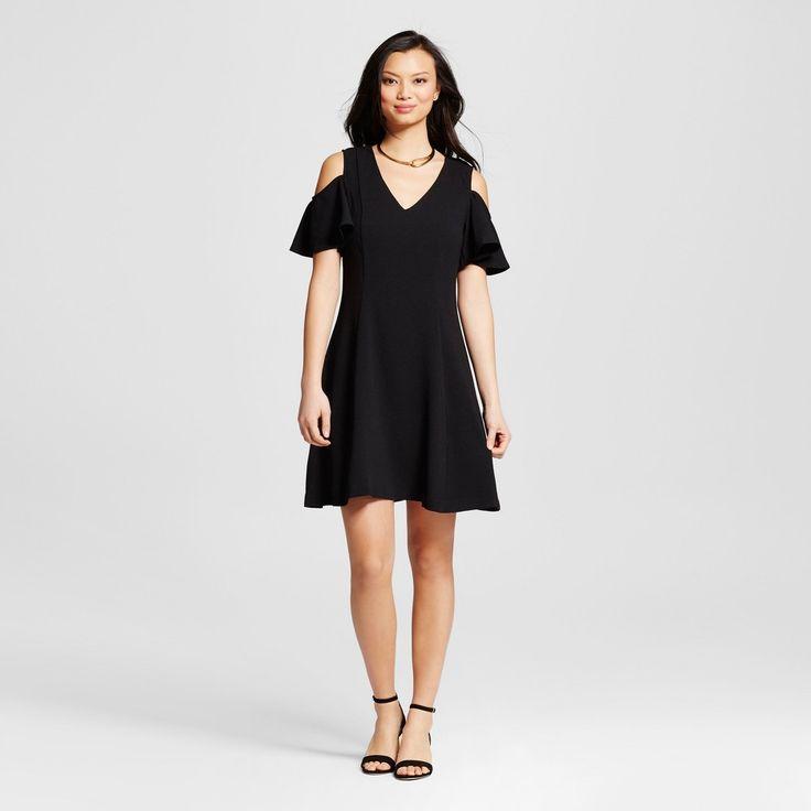 Women's Woven V-Neck Cold Shoulder Shift Dress - Black 12 - Zac & Rachel