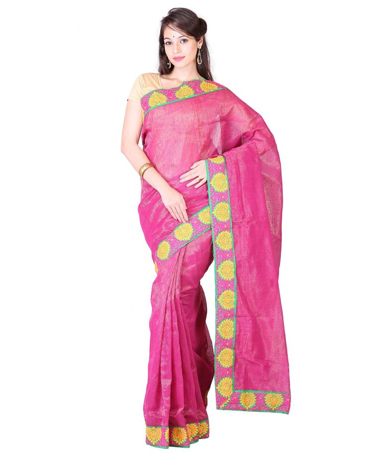 Pink colored saree with patch border suitable for any occasion.