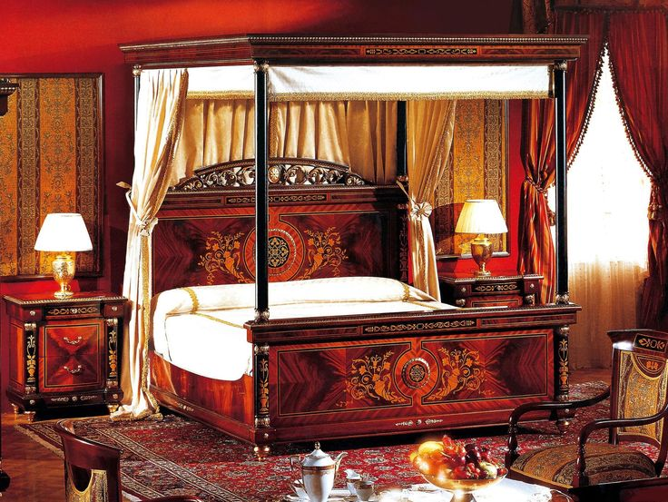 Bedroom Rosella Carved Wood Canopy Bed With White Fabric Sheet Blanket Also Double Gold Base