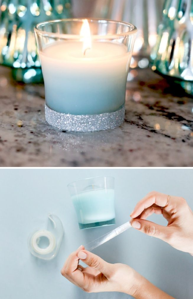 DIY Glitter Candles! On Kara's Party Ideas by Glade and @Evite! KarasPartyIdeas.com