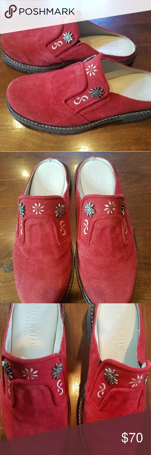 Red Suede Geier Wally Alpine style clogs NWOT NWOT Beautiful red suede Geier Wally shoes made and purchased in Austria. Two gorgeous silver Edelweiss flowers on each along with embroidery. Beautifully stitched with heavy-duty rubber soles. Never worn. Geier Wally Shoes Mules & Clogs