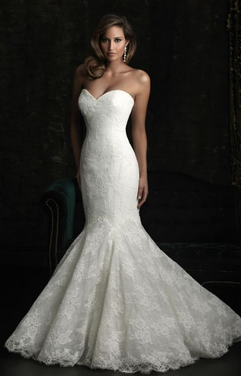 Allure Bridal- 8970:  This fit and flare gown is stunning. The slim silhouette features a strapless, sweetheart neckline. Layers of lace create dimension throughout the entire design