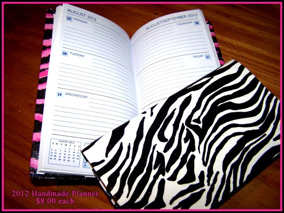 Hand Crafted ZEBRA 2012 Planner for Purse/Handbag by leahshope, $8.00