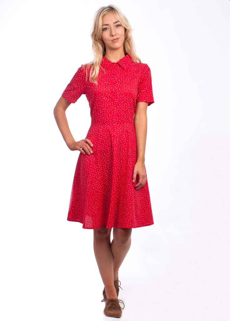 The dainty star print Gina dress from Circus at Carousel #star #pattern #vintage #style #1950s #cute #shirtdress #dress #red