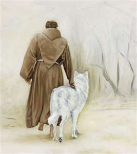 St Francis with white wolf