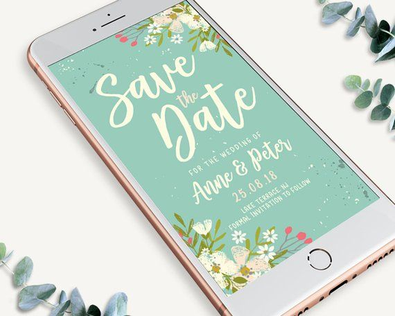 Rustic Electronic Save The Date Invitation Bohemian Invite Etsy Electronic Save The Date Electronic Invitations Save The Date Invitations