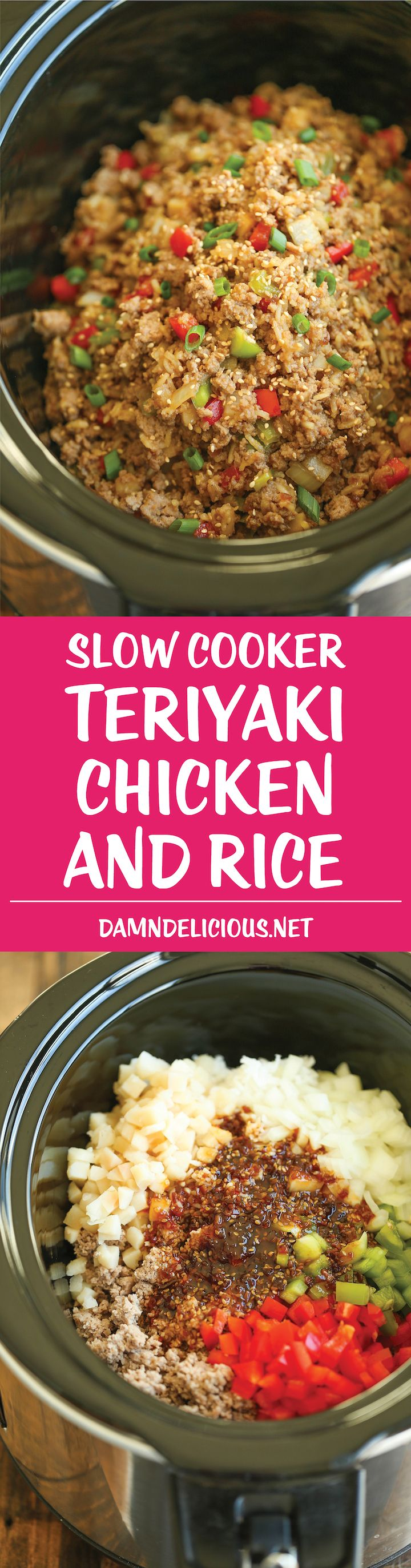 Slow Cooker Teriyaki Chicken and Rice - Saucy chicken, rice and veggies come together so easily right in the crockpot. Sure to be a weeknight staple!