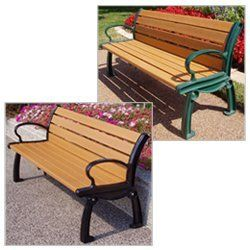 JAYHAWK PLASTICS Heritage Outdoor Benches - Green by Heritage. $878.00. JAYHAWK PLASTICS Heritage Outdoor Benches feature a stylish design to compliment your outdoor decor. 100% post-consumer recycled plastic planks will not rot, splinter, decay, crack or mildew. Maintenance free. UV stabilized for uniform color. Powder-coated heavy-duty cast aluminum frames. Length and width supports reinforce seat.