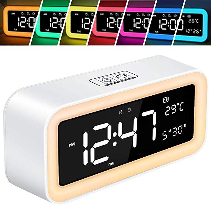 Huanlang Wake Up Light Alarm Clock For Bedrooms Led Clock Large Display Snooze Dimmer 12 24hr Nature Sounds 6 Light Alarm Clock Alarm Clock Sunrise Alarm Clock