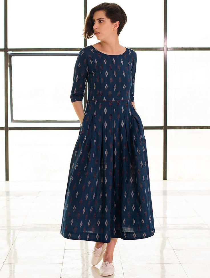 Buy Blue Box Pleated Handloom Ikat Cotton Dress Online at Jaypore.com