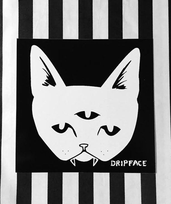 Hey, I found this really awesome Etsy listing at https://www.etsy.com/listing/222870146/three-eyed-cat-inverted-colors-square