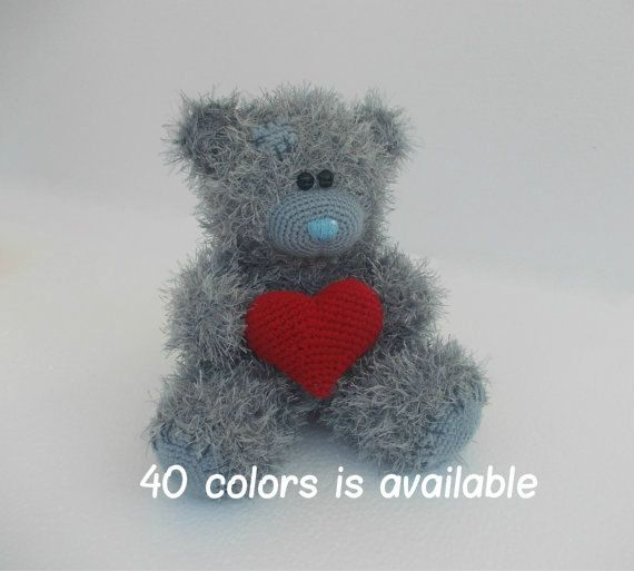 Hand knitted Teddy Bear with Heart by LorensDolls on Etsy