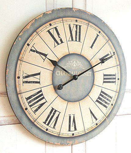Zauberhafte Landhaus Wanduhr Uhr im Shabby Chic french Antik Chic 60 cm XXL Handelskontor Jeanette Ahlring http://www.amazon.de/dp/B00MEFO4K6/ref=cm_sw_r_pi_dp_DzGzvb0NR4SBA