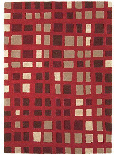 Teppich Wohnzimmer Carpet modern Design MATRIX PLAZA GEOMETRIE RUG 100% Wolle 160x230 cm Rechteckig Rot | Teppiche günstig online kaufen  https://www.amazon.de/dp/B017RBCBUQ