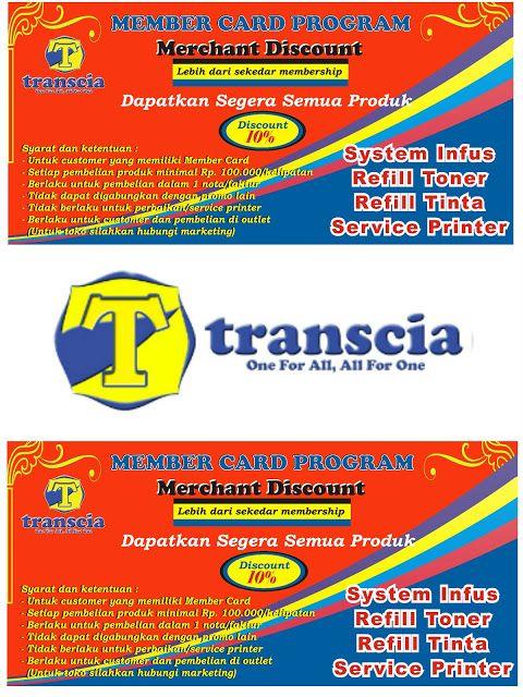 refill tinta & toner printer inkjet laserjet Canon,Hp,Epson,Brather,Samsung,Panasonik,Xerox: Member Card Transcia