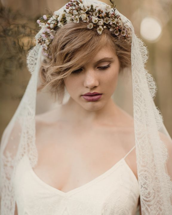 Vintage Juliette cap veil with wax flower crown