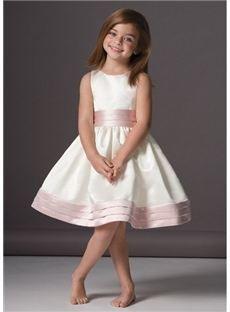 Hermosa A Line Scoop Longitud de la rodilla Sash niña vestido de flores y hadas vestidos de niña