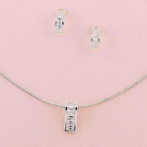 Baguette Crystal Silver Necklace and Half-Hoop Earring Set