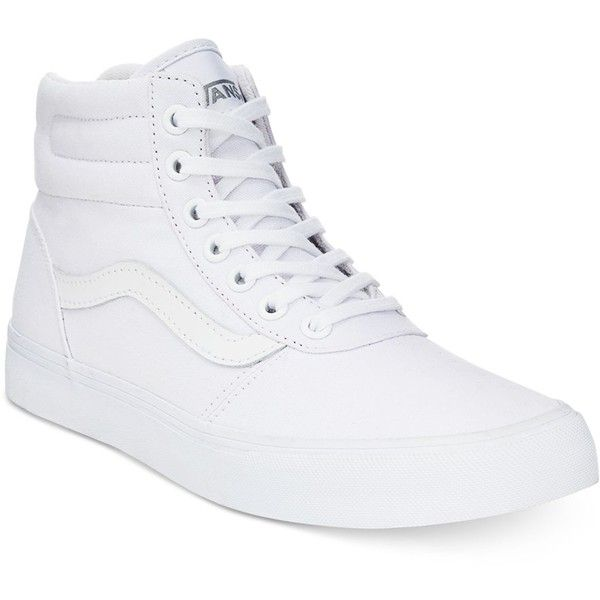 Vans Women's Milton High-Top Sneakers ($65) ❤ liked on Polyvore featuring shoes, sneakers, vans, white, canvas shoes, high top canvas sneakers, white shoes, white hi top sneakers and canvas sneakers