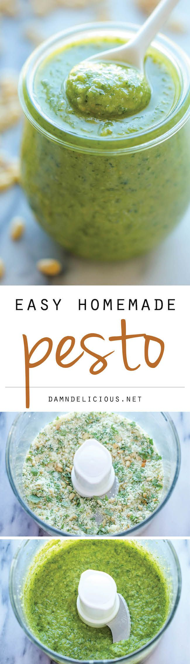 Easy Homemade Pesto - good ratios, but you should toast the pine nuts first, in my opinion