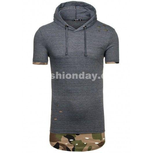 Pánske tričko tmavo sivej farby s kapucňou - fashionday.eu