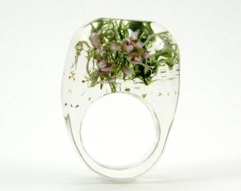 Мосс и Хизер кольцо, уникальные Ясно резиновое кольцо с природным смешанной Мосс и Хизер, Ботанический Ювелирные изделия