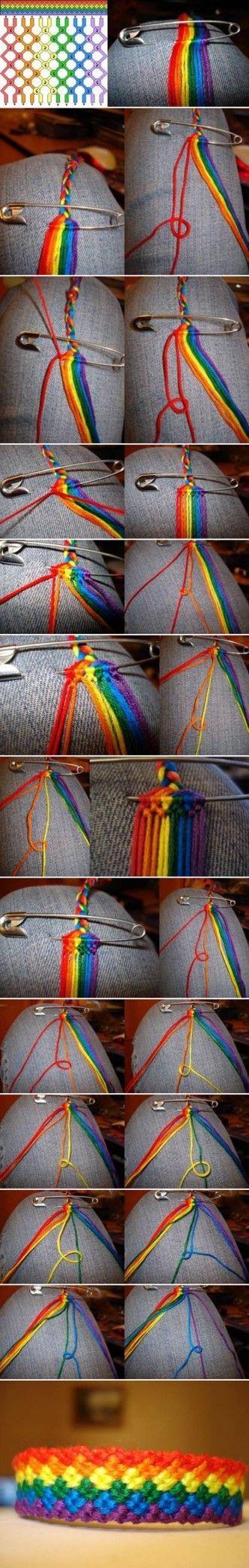 How to DIY Weave Rainbow Color Baubles Bracelet: