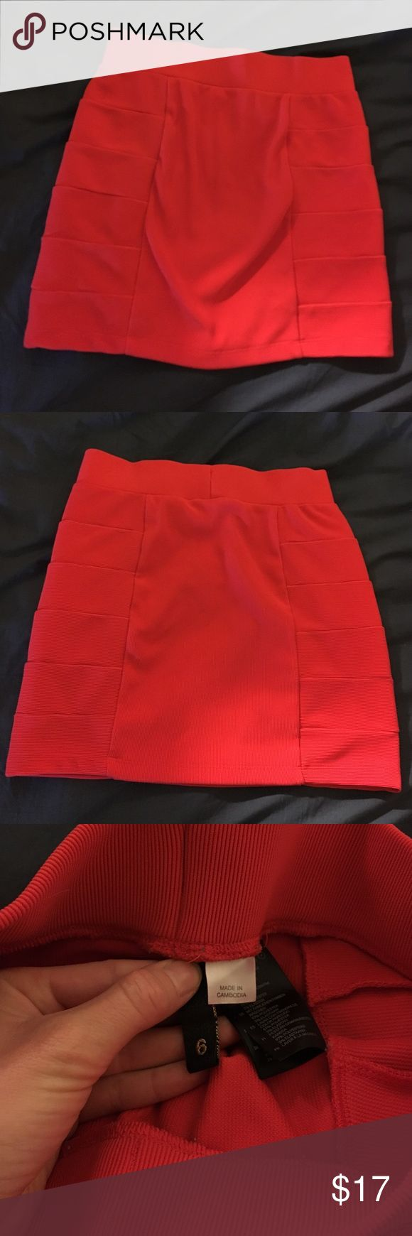Red mini skirt from H&M. Perfect for Valentines! Red H&M mini skirt perfect for VALENTINES DAY! ❤️ Worn once! In PERFECT condition! It's size is more true to a size 2-4, but it is VERY stretchy and SUPER comfortable! Divided Skirts Mini