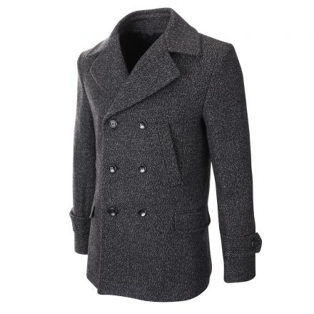 Mens Winter Wool Blend Double Breasted Pea Coat