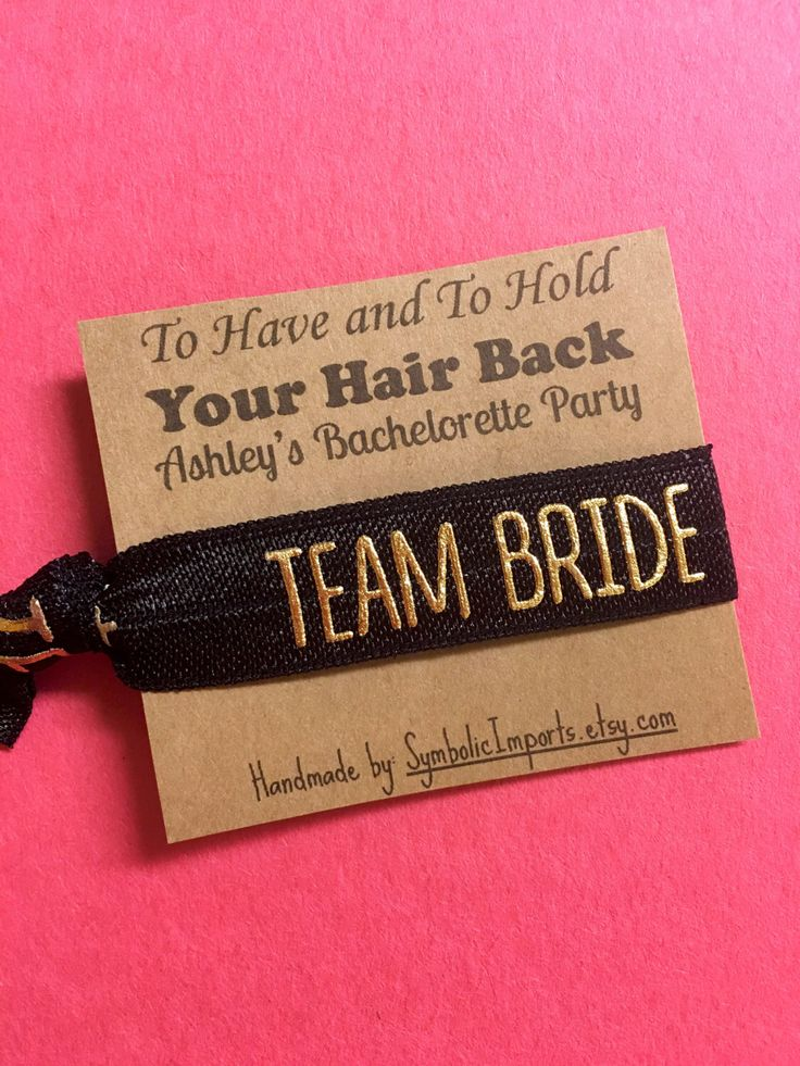 Bachelorette Party Favors - Bachelorette Hair Tie - Team Bride Hair Tie Party Favors - Survival Kit - To Have and To Hold Your Hair Back by SymbolicImports on Etsy https://www.etsy.com/listing/263865616/bachelorette-party-favors-bachelorette