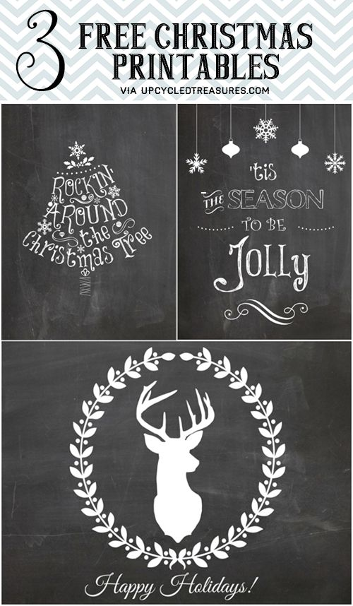 Check out these 3 Free Christmas Printables http://upcycledtreasures.com/2013/12/3-free-christmas-printables/