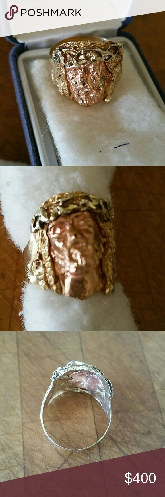 10K, GOLD JESUS CHRIST RING WITH THORN CROWN 10K, JESUS CHRIST RING WITH THORN CROWN,  SIZE 111/2, WEIGHT 4.9 DWT., ESTIMATED REPLACEMENT VALUE- TAX INCLUDED 600.00, RESALE VALUE 400.00,  ASKING 400.00 FOR RING. BLACK HILLS GOLD Jewelry Rings