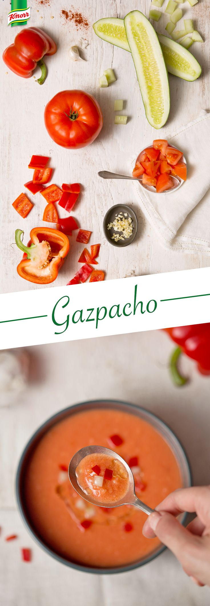 The perfect summertime recipe for chilled soup? Gazpacho! Knorr's easy tomato dish is the best way to beat the season's heat. Drizzle with olive oil for extra flavor.