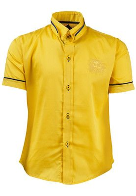Yellow coloured casual shirt for boys by Blazo. Crafted from a blend of cotton and satin, it has short sleeves and collar neck. It comes in regular fit.