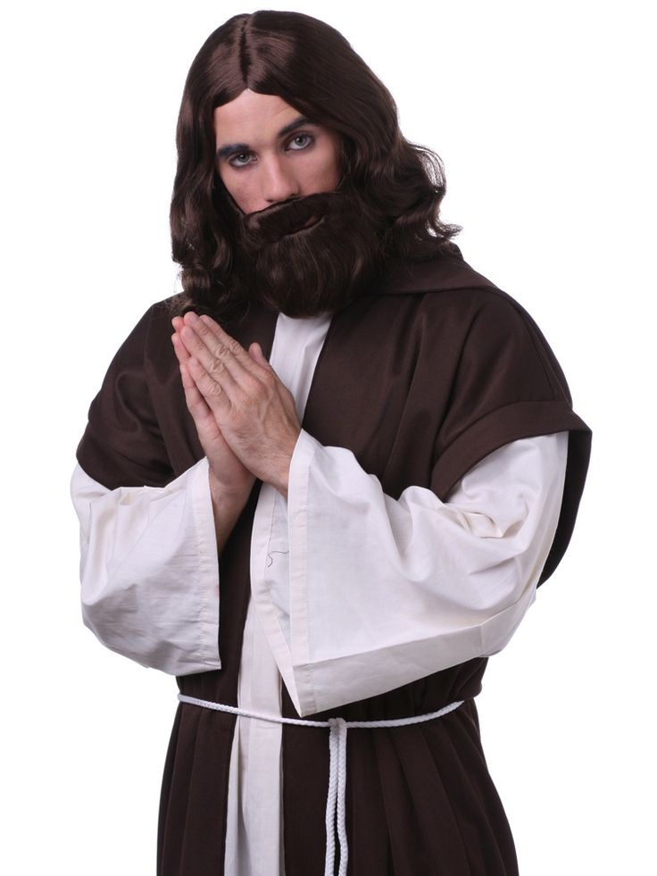 Turn that water into wine! This Jesus Christ set comes with a full wig and beard. Available in 3 colors: black, brown and blonde. #jesus #costume #wig #beard #halloween