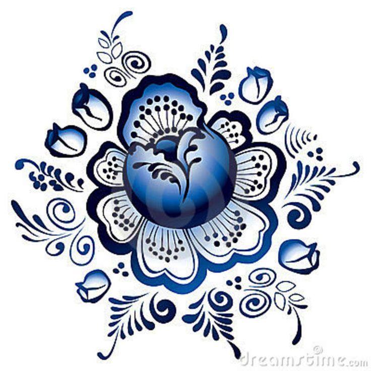 gzhel | De Bloemen Van Gzhel. Russisch Ornament Stock Afbeeldingen - Beeld ...