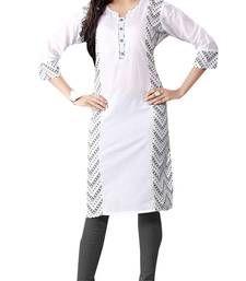 Buy Off White Printed Cotton Kurti kurtas-and-kurti online
