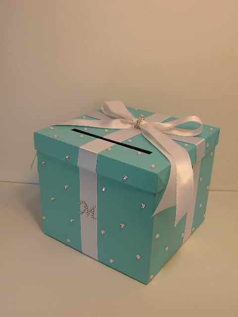 Tiffany blue Wedding Card Box Gift Card Box Money Box  Holder--Customize in your color/made to order (10x10x9)