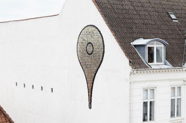 Giant Map Pin Installation Made of Metallic Discs