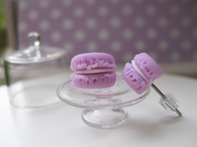 Mini Pink Macaron Stud Earrings _ 1/12 Dollhouse Scale Miniature Food _ Polymer Clay by MarisAlley on Etsy