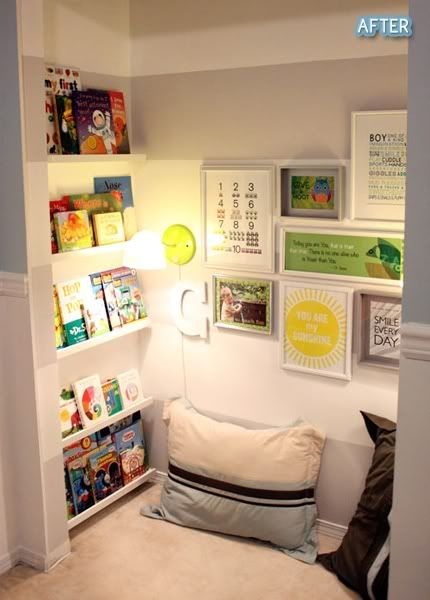 Reading lounge: remove closet doors, add carpet & pillows, Ikea spice racks work well for inexpensive bookshelves