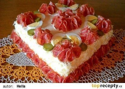 Hermelínová pomazánka do slaného dortu (vejce natvrdo,cibule,šunka,ster.okurka,hořčice,majonéza)