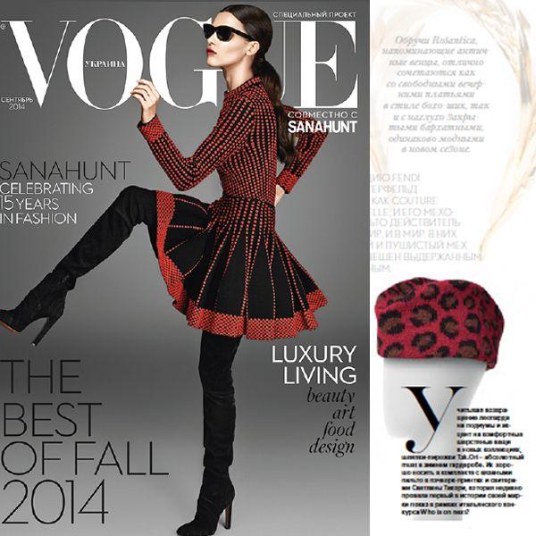 Vogue Ukraine September issue - Tak.Ori Made in Italy hat